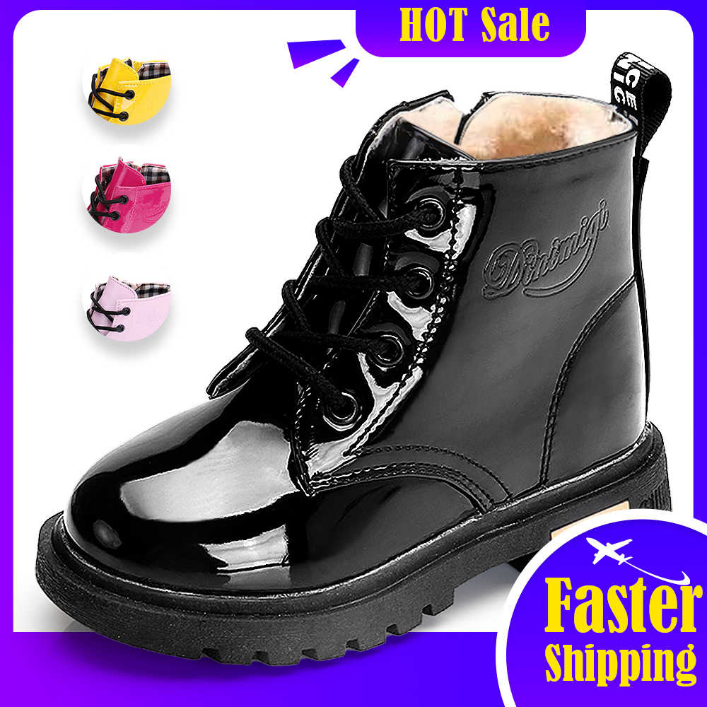 جديد أحذية للأطفال حجم 21-35 مارتن الأحذية لفتاة بولي Leather جلد مقاوم للماء الشتاء الاطفال أحذية ثلج الفتيات أحذية نصف رقبة من المطاط