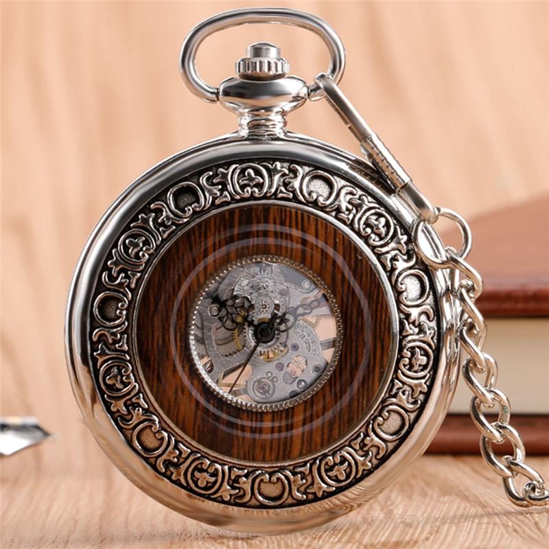 Vintage Antique Pocket Watch Handwind Mechanical Watches for Men Women Manual Skeleton Clock Fob Pendant Chain Roman Numeral