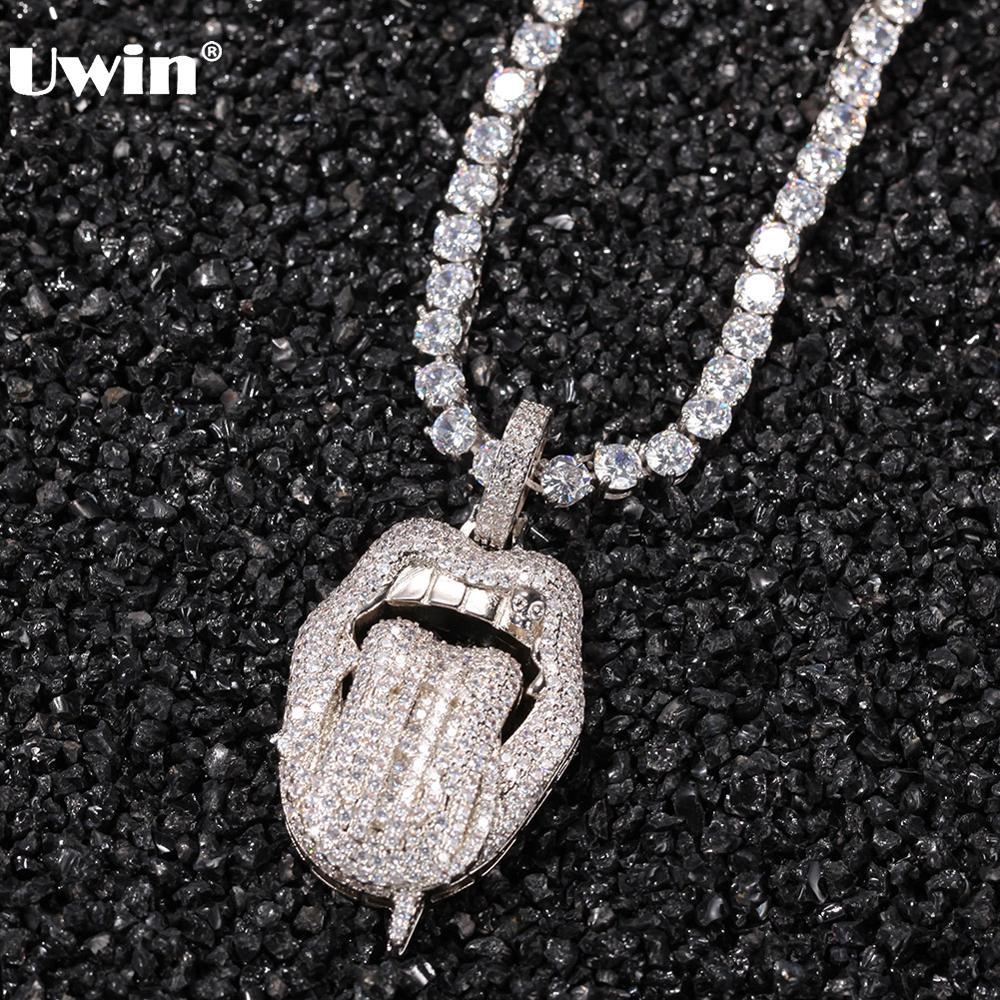 Uwin hiphop jóias língua grande com pingente de dólar colar completo iced para fora aaa zircão cúbico acessórios de moda para o transporte da gota