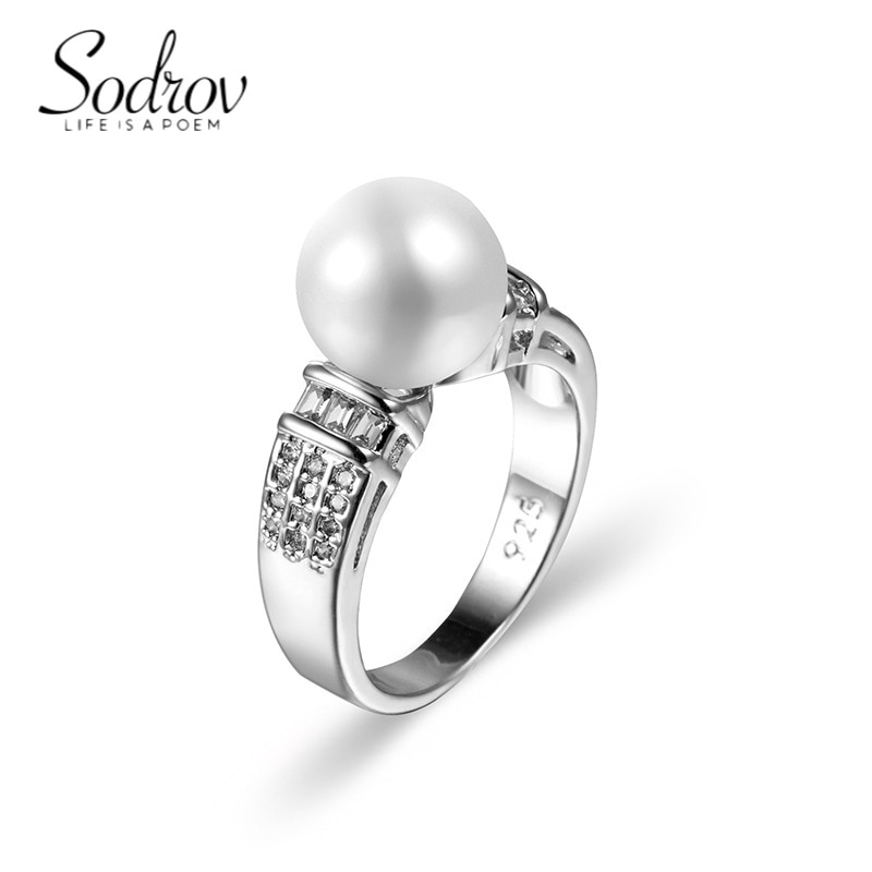 SODROV Sterling Silver 925 Pearl Rings for Women Silver 925 Jewelry 2021 Trrend