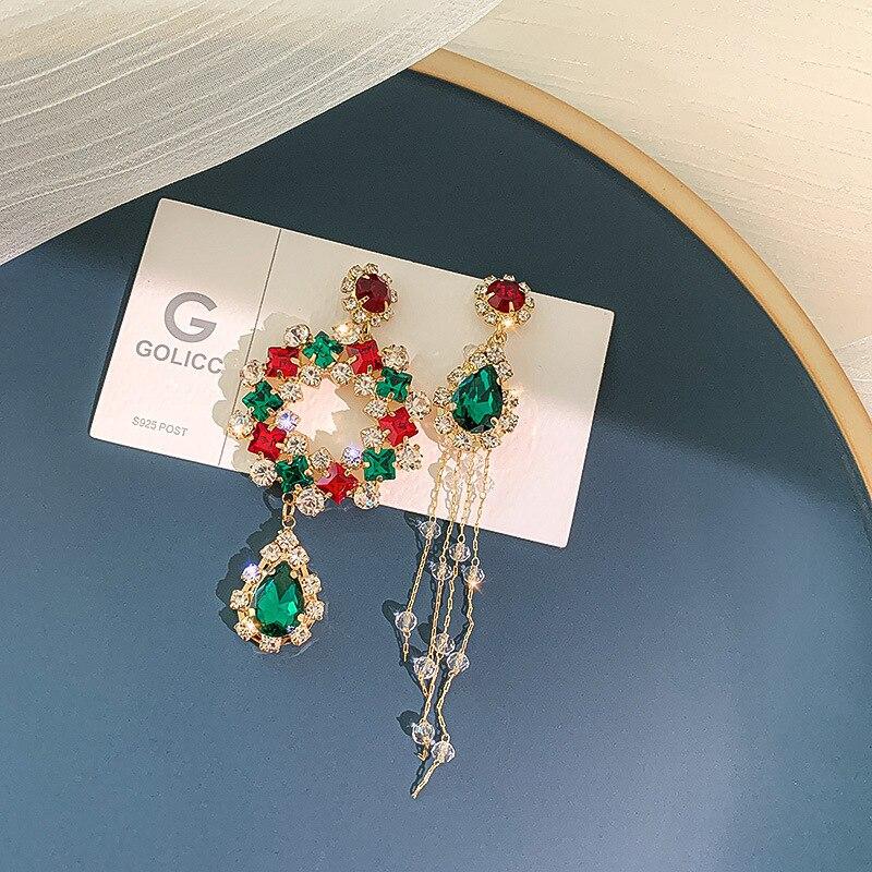 Europeo y americano exagerado barroco de diamantes de imitación largo asimétrico pendientes para mujer retro estilo bohemia pendiente