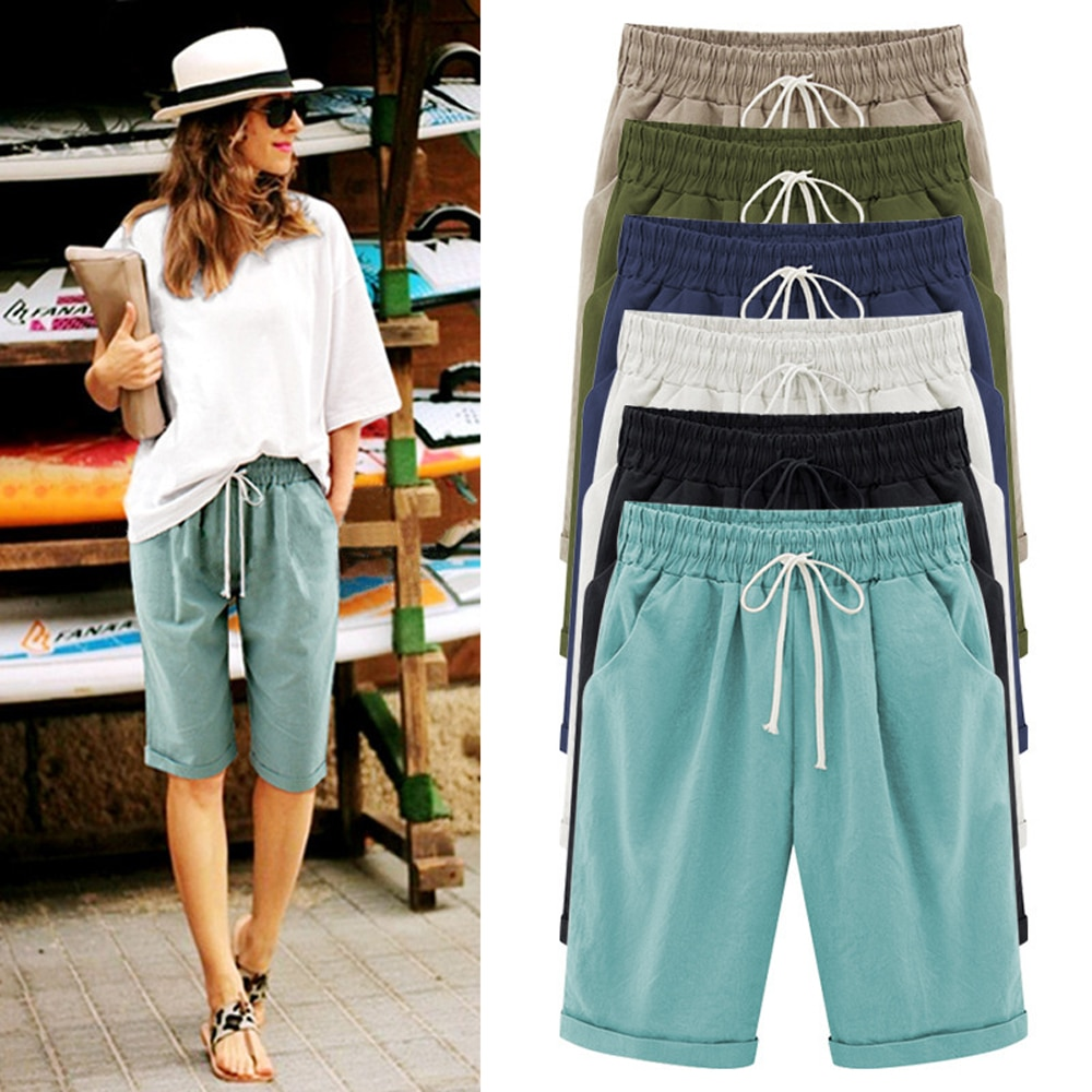 Oversized Women Summer Cotton linen Shorts Casual Ladies Drawstring Elastic Loose Short Trousers Plus Size S-8XL