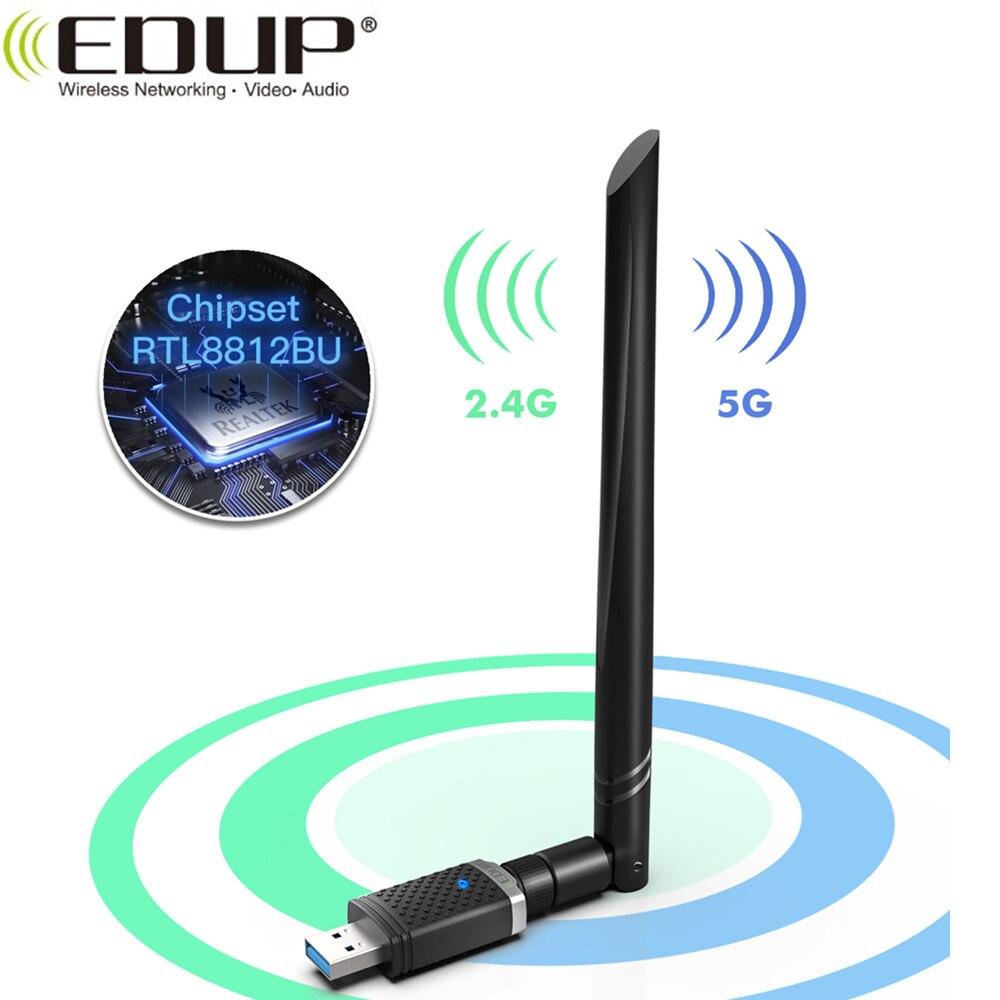 EDUP 1300 Мбит/с USB Wifi адаптер 2,4 ГГц/5 ГГц полоса Wirelss RTL8812BU сетевая карта 5dBi сильная антенна USB WiFi ключ для ПК Mac