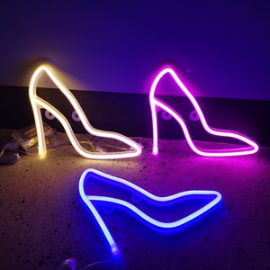Touch Wall Lamp Home Decorations High-Heeled Shoes LED Neon Lights Colorful Wall Hanging Neon Sign Night Lamps