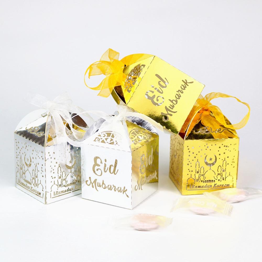 50/100pcs Eid Mubarak Candy Box Favor Box Ramadan Kareem Gift Boxes Islamic Muslim Festival Happy Al-Fitr Eid Party Decoration.
