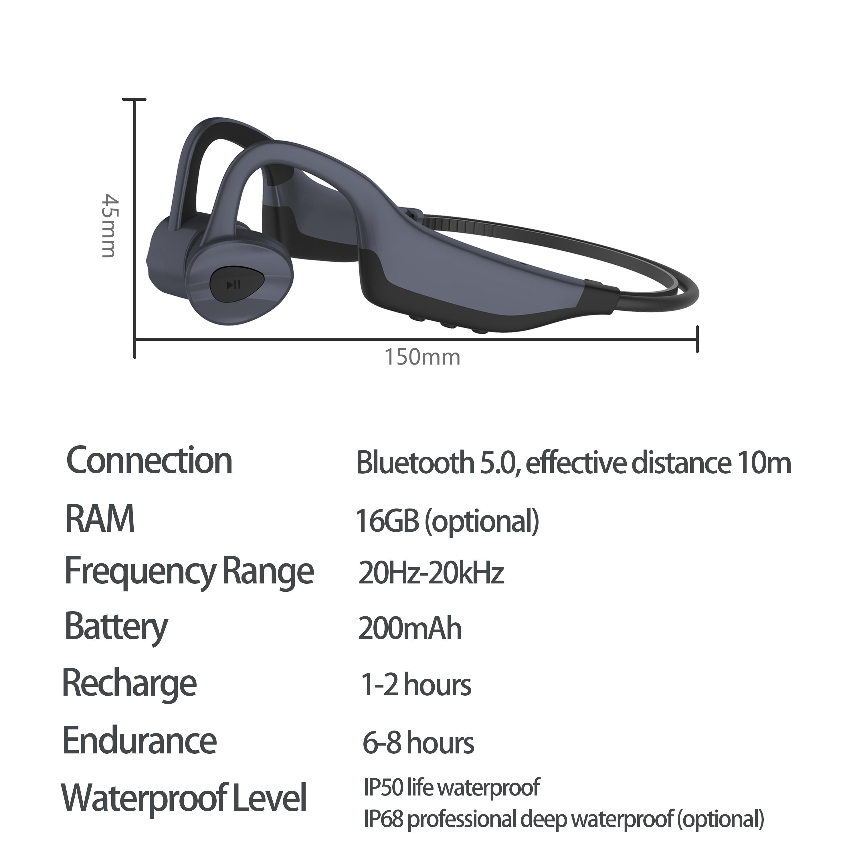 New Swim Bone Conduction Headphones Bluetooth Wireless Earphone 16GB MP3 Music Player Waterproof Earbuds Fitness Sport Headset enlarge