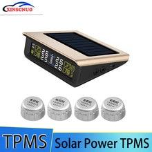 TPMS Car Tire Pressure Monitoring System LCD Display 4 External Sensors Auto Alarm System Solar Ener