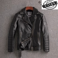 100 winter autumn genuine leather jacket men streetweaar real leather coat man moto biker vintage cow leather jacket 2a1