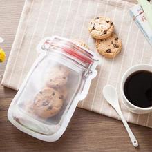 10pcs/lot Reusable Mason Jar Bottles Bags Nuts Candy Cookies Bag Fresh Food Storage Bag Zipper Sealed Kitchen Organizer TDH