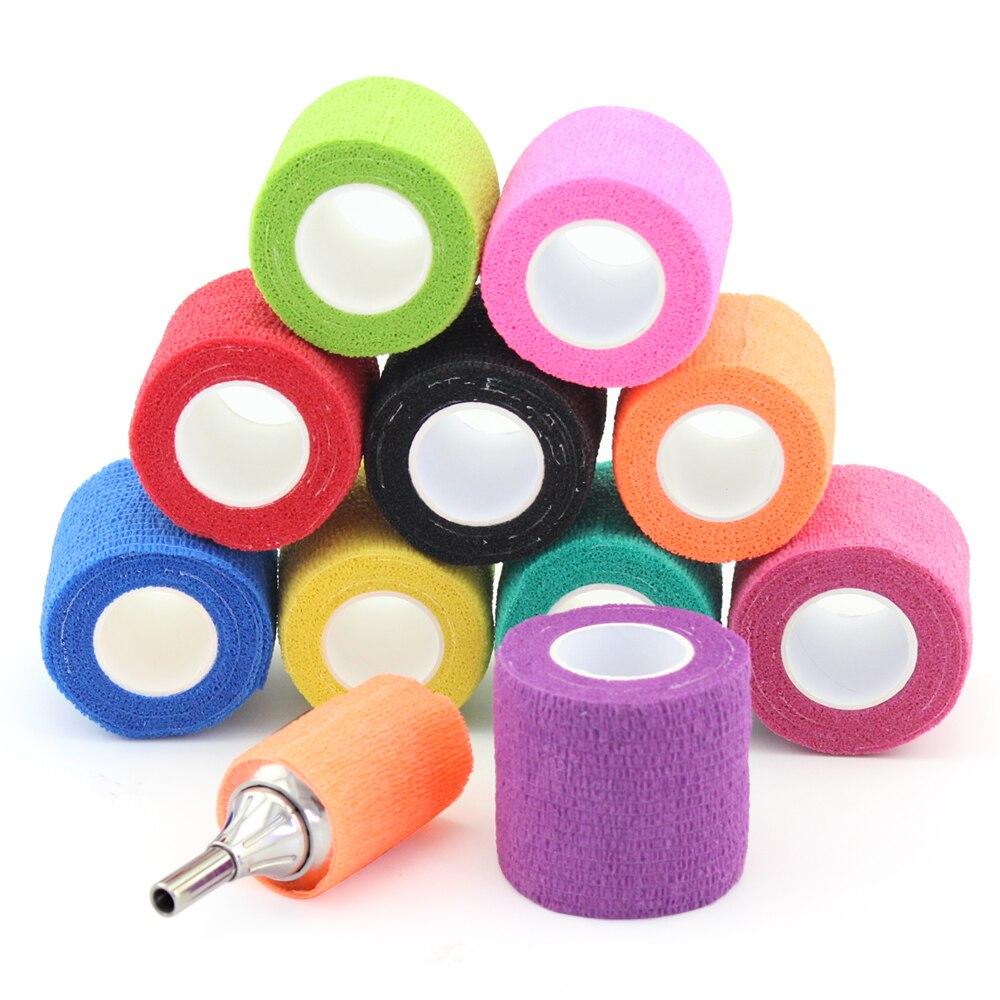 24 قطعة ملونة ذاتية لاصقة طبية مطاطية ملتصقة الشريط للرياضة الرياضية التفاف و الوشم التموين 5 سنتيمتر * 4.5 متر