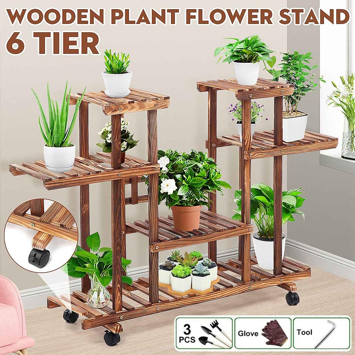 6-Tier Wood Flower Pot Plant Stand 116*25*72cm Home Garden Storage Display Shelves for Indoor Outdoor Yard Garden Patio Balcony