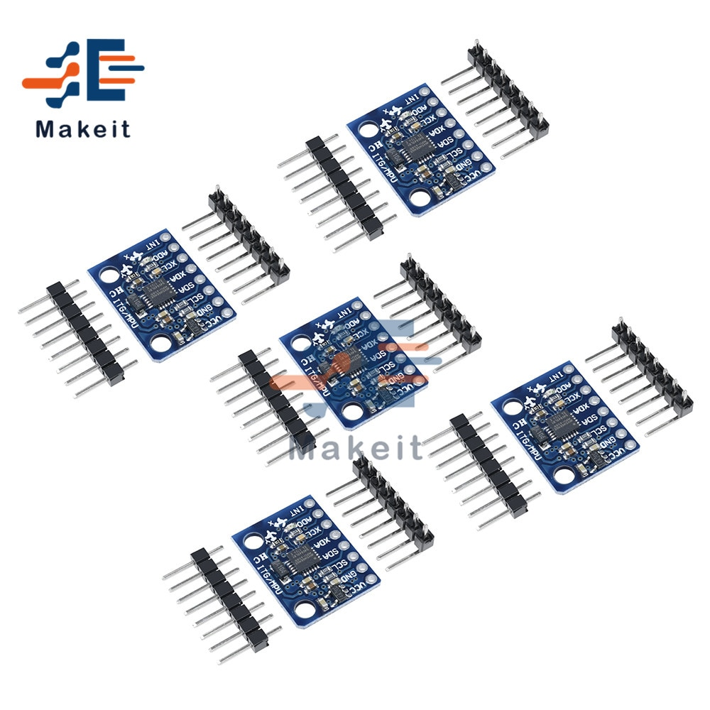 5Pcs GY-521 GY521 MPU-6050 MPU6050 3 Axis Analog Gyroscope Sensor Accelerometer Compatible Module IIC I2C Interface for Arduino