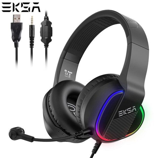 Игровая гарнитура EKSA E400, проводные 3D наушники с RGB подсветкой и микрофоном для ПК, PS4, Xbox One, Nintendo, телефона