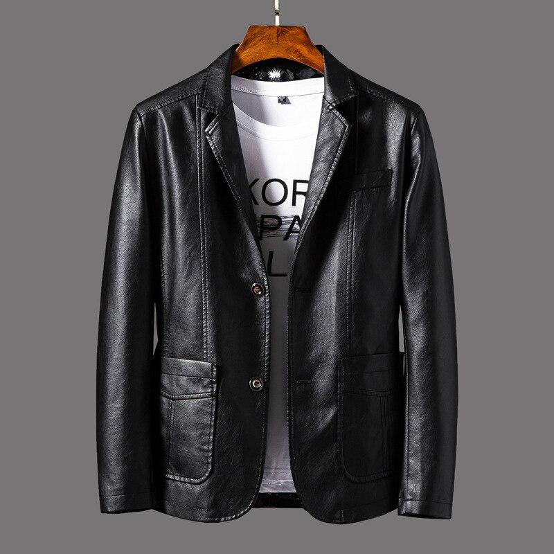 Faux Leather Suit Jacket Men Slim Fit Short Coat Spring Autumn Fashion Streetwear Casual Blazer Jackets Male Outerwear  MY164