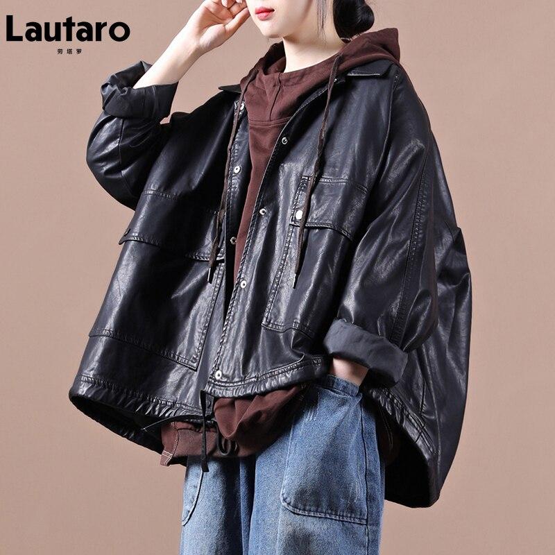 Lautaro ربيع قصير أسود المتضخم فو الجلود سترة المرأة راجلان كم جيوب الكورية ملابس عصرية الشارع الشهير 2021