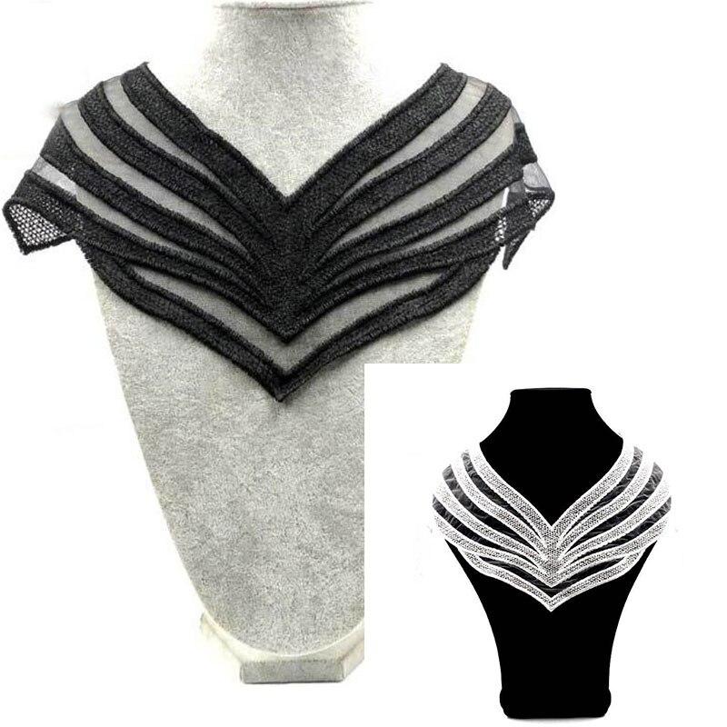 ¡Venta al por mayor! Tela de encaje de alta calidad, aplique bordado en blanco y negro, cuello falso de encaje, suministros de costura, Apliques de encaje