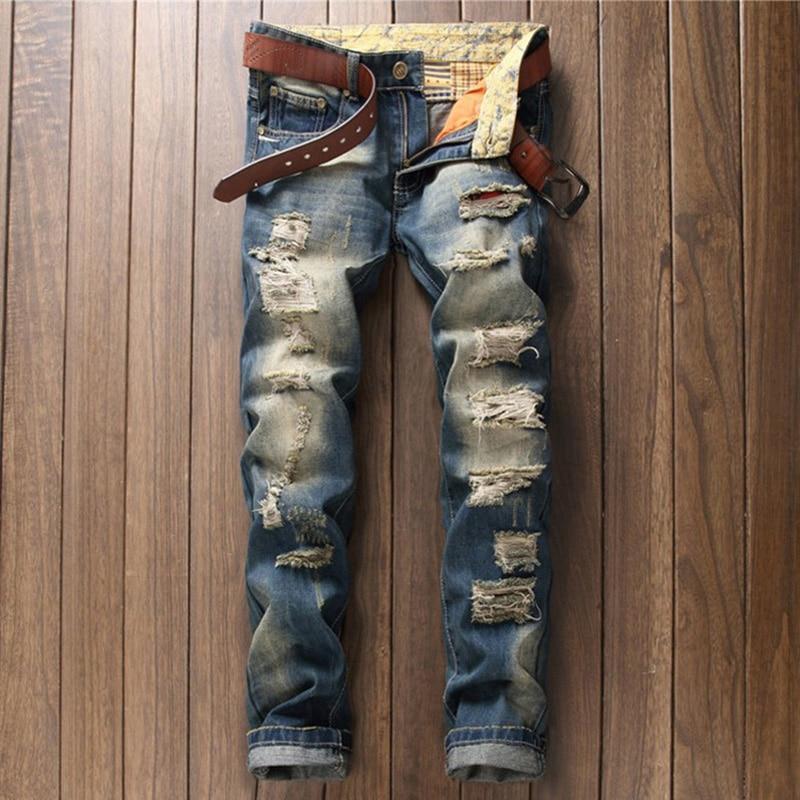 Мужские рваные джинсы в стиле ретро, Модные свободные прямые джинсовые брюки для студентов, синие мужские повседневные мешковатые брюки