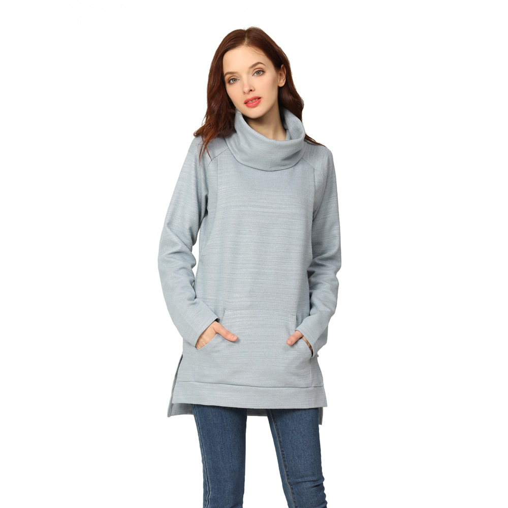 Emotion Moms Elegant Maternity Clothes Thermal breastfeeding Coat Turtle Neck Nursing Sweaters Hoodie the Colour of Gray. enlarge