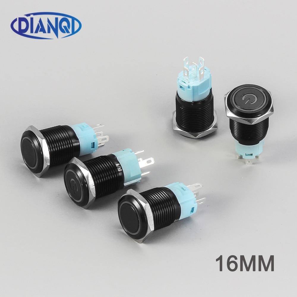 Botón de metal de 16mm, interruptor negro de óxido de aluminio resistente al agua con bloqueo momentáneo ligero, bloqueo automático de bloqueo de coche, reinicio 16HX.BK
