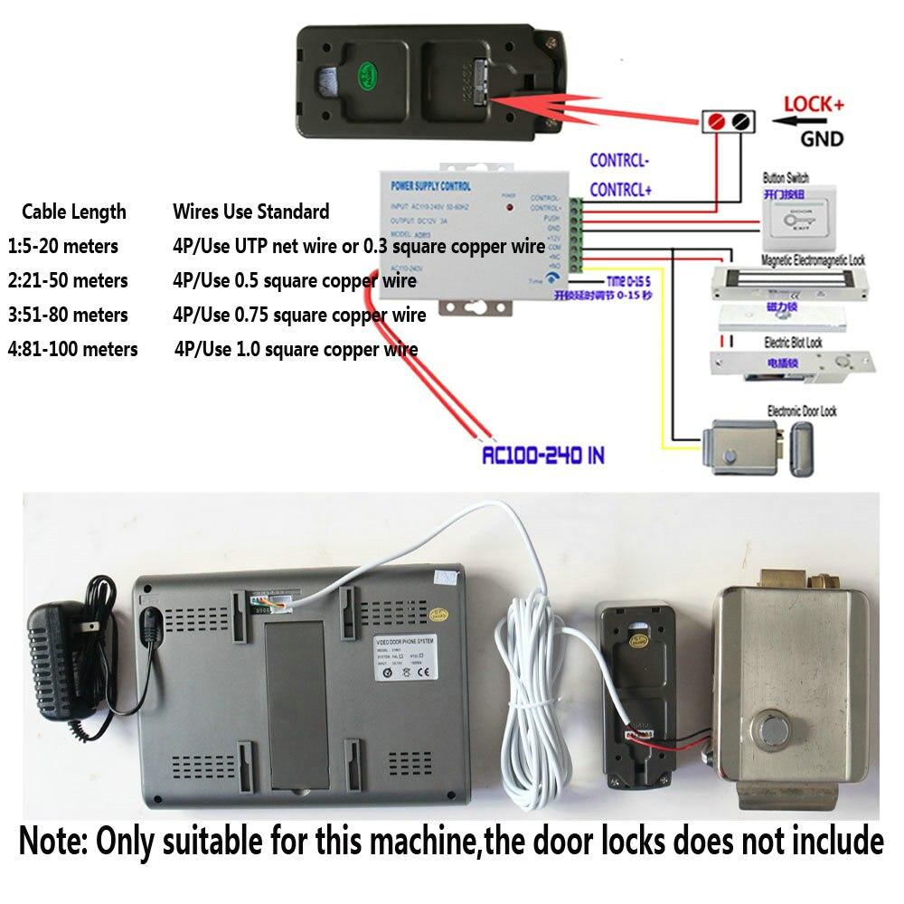 Visual Intercom Doorbell 7'' TFT Color LCD Wired Video Door Phone System Indoor Monitor 700TVL Outdoor IR Camera Support Unlock enlarge