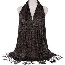 170*60cm Cotton Scarf Shawl Women Tassel Fringed Glitter Long Wrap Hijab Stole Solid Color Hijab Scarves For Ladies Elegant