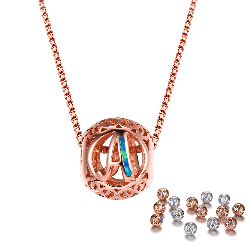Mode 925 Sterling Silber Alphabet Anhänger Halsketten Opal Brief A-Z Halsketten Geschenke Schmuck