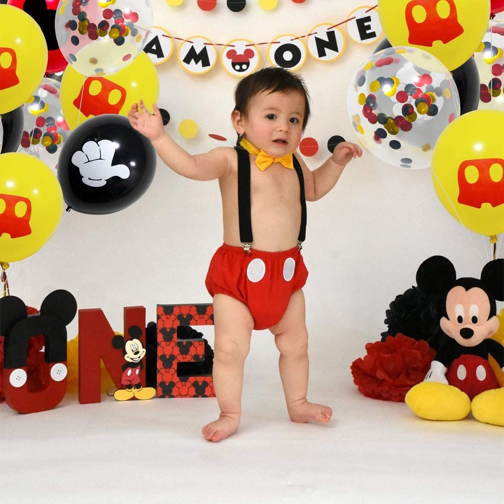 1set Mickey Mouse Party Supplies Birthday Decorations Set Happy Birthday Banner Balloon Door Sign for Baby Shower Party Supplies