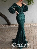 mermaid trumpet open back formal evening dress plunging neck long sleeve sweep brush train polyester with sequin 2021