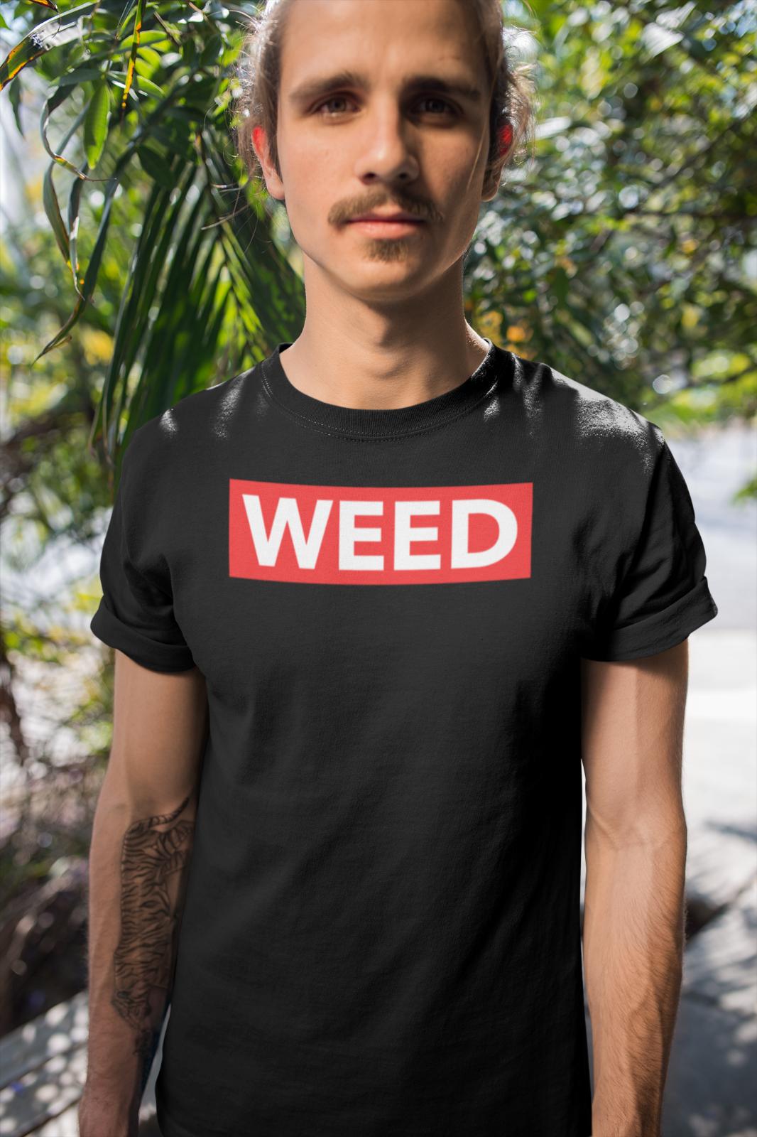 Nueva camiseta roja con Logo de caja de marihuana, divertida camiseta de Hip Hop Rap Savage Style Stoner Hippie negra