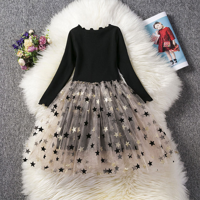 Vestido de princesa para niñas, vestido de burbuja con dobladillo y estampado de estrellas de manga larga para primavera YH-17