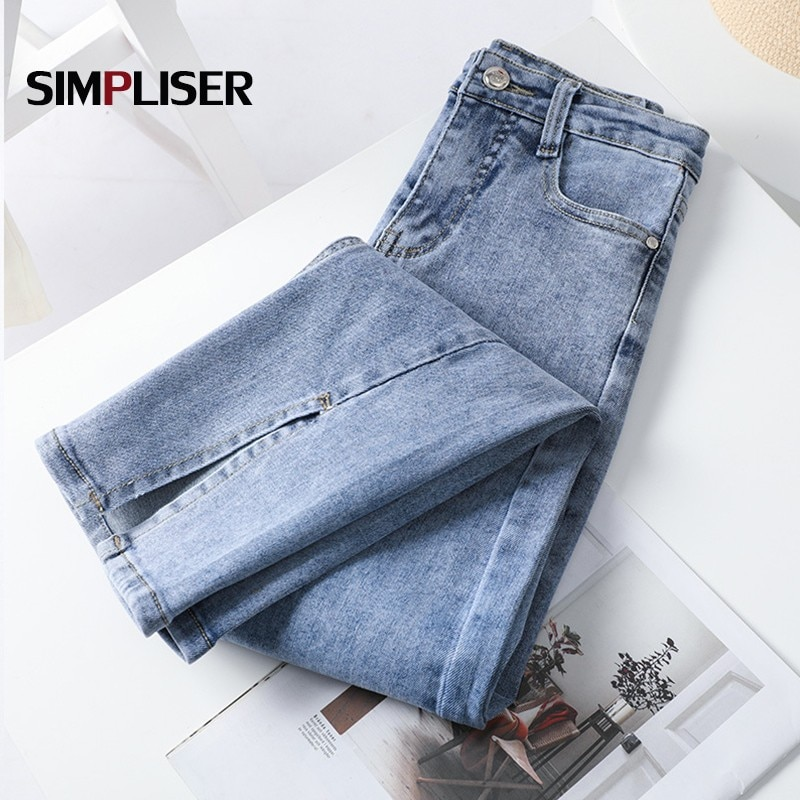 Split Jeans Women Flared Jeans Trousers High Stretch Female Denim Blue Trousers 2021 Summer Push Up Jeans High Waist Mom Jeans