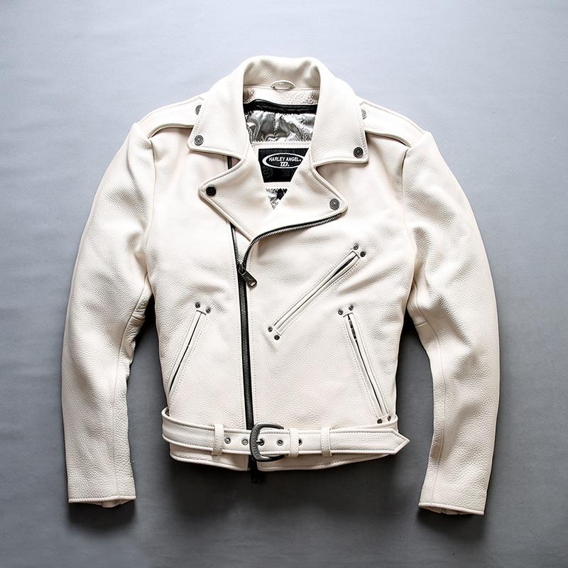 Moda para hombre 2020, motocicleta de vaca blanca con cinturón, cremallera de solapa, chaqueta auténtica para hombre, abrigo cuero Hombre