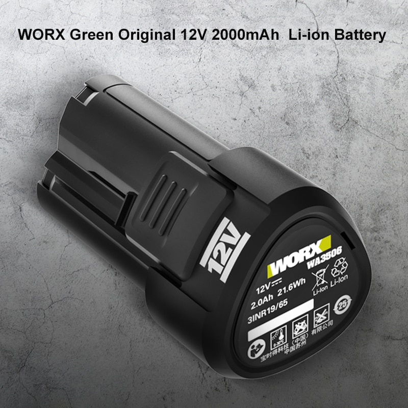 WORX WA3506 12V Green Original 2000mAh  Li-ion Battery12V Battery Suitable for All Worx 12V Product Power Tool WORX Green Orange enlarge