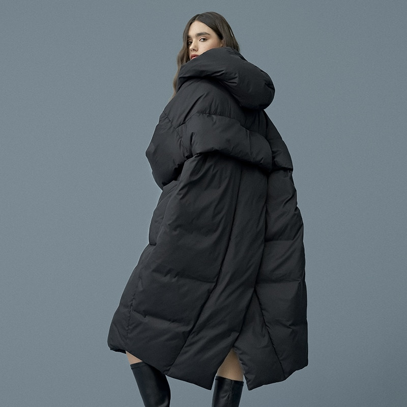 S-7xl mais tamanho inverno oversize pato quente para baixo casaco feminino x-long para baixo casaco quente com capuz cocoon estilo grosso quente parkas f192
