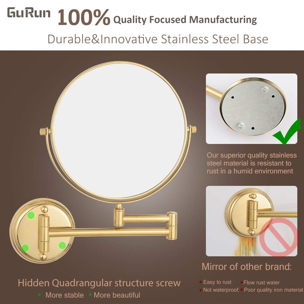 GURUN 6''/8'' Polished Gold 3X/5X/7X/10X Magnification Wall Mounted Double Sided Solid Brass Vanity Makeup Mirror Bathroom Hotel