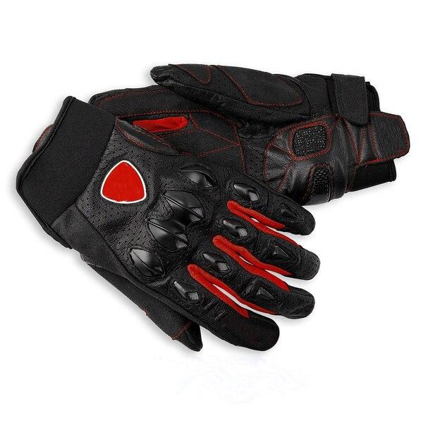 Кожаные перчатки гоночные красные для мотоциклистов Ducati