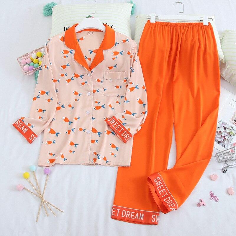Herislim womens peixe impresso cetim de seda pijamas conjunto letra manga longa pijamas terno sono feminino duas peças conjunto
