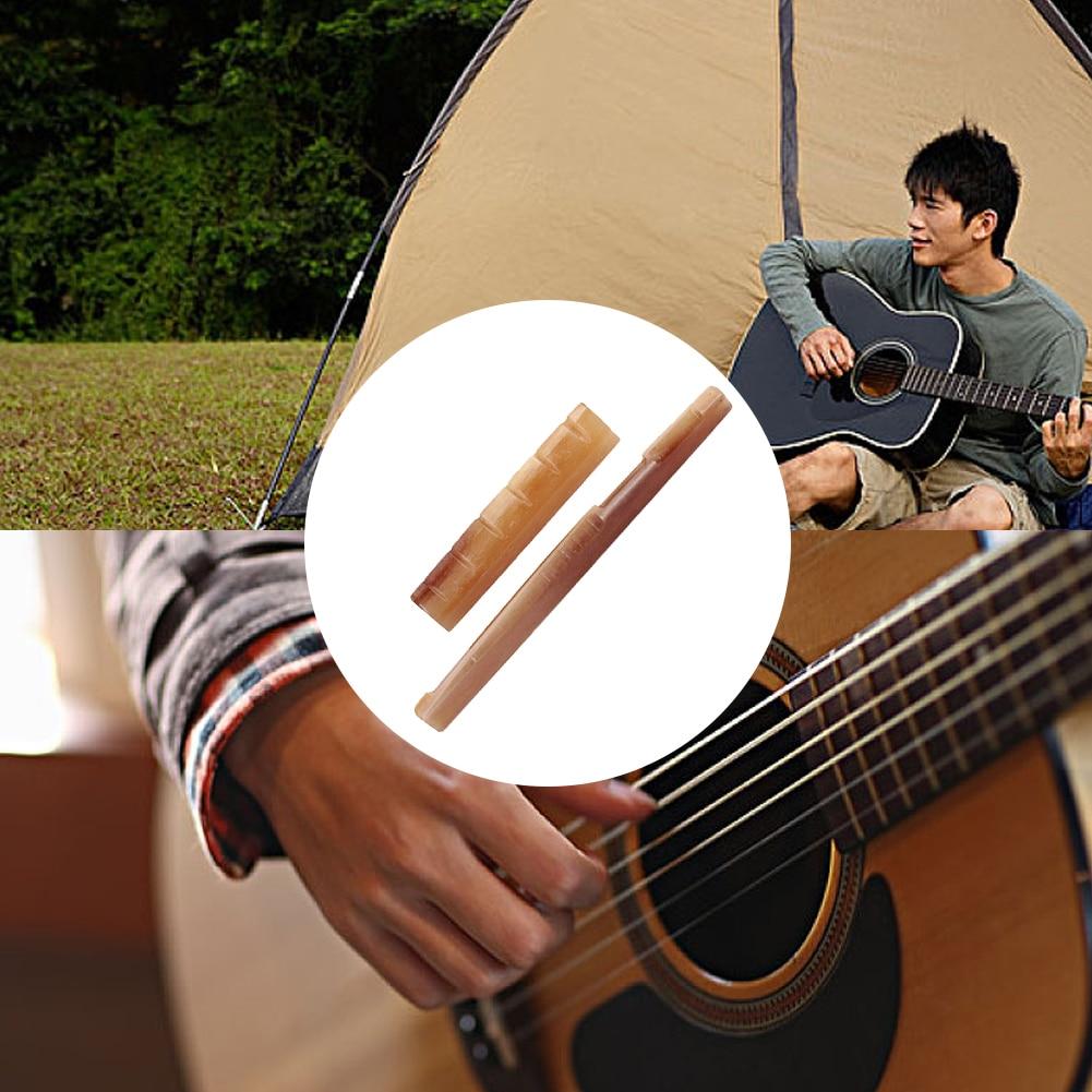 Guitar Nut Bridge Saddle Camel Bone Guitar Bridge Saddle For Acoustic Guitar Musical Instrument Accessories Replacement Brown enlarge