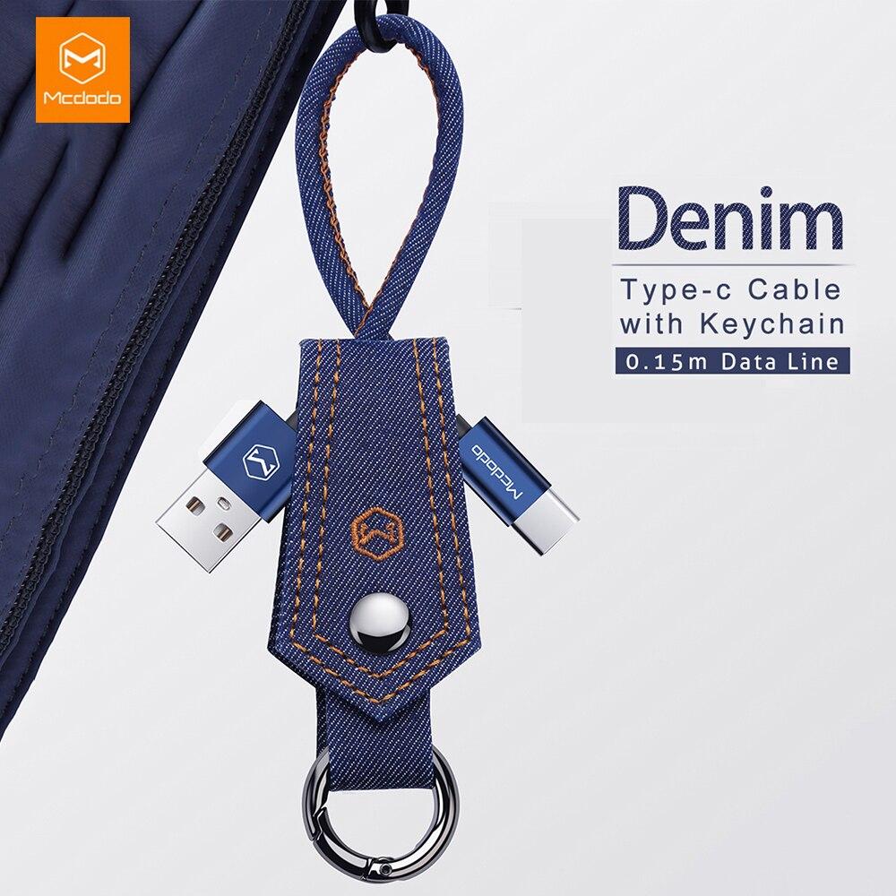 Mcdodo usb tipo c cabo de carregamento rápido qc3.0 denim tecido chave 15cm para samsung s10 xiaomi huawei p30 prp telefone carregador cabo dados