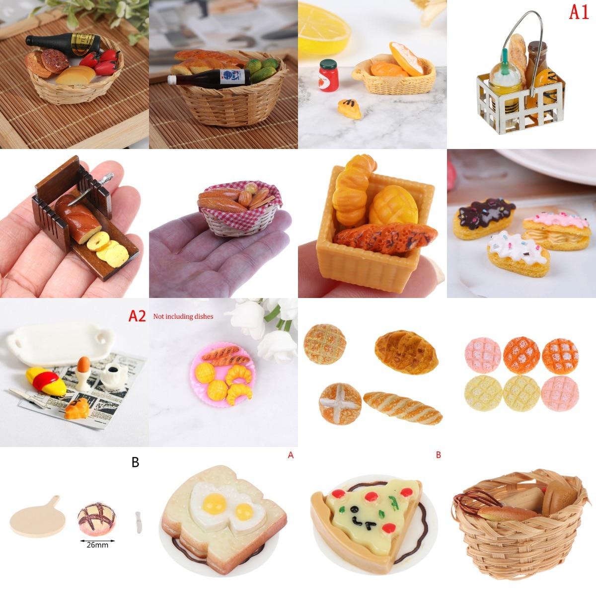 Миниатюрный инструмент для приготовления еды, хлеба, тостов, хот-догов с корзиной, столовой, пекарни, кондитерские изделия, Кухонное украшен...