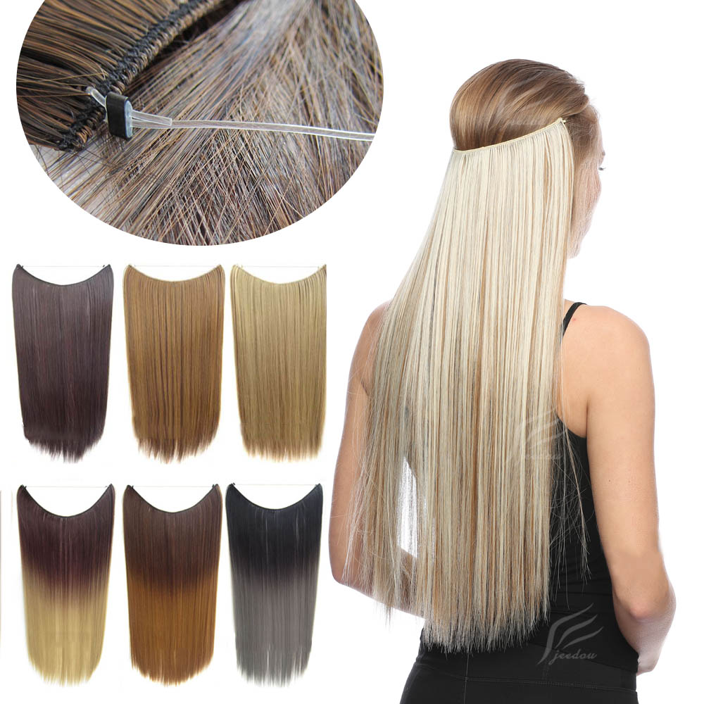 jeedou 50g Thin Synthetic Hair Extension No Clips Whit Invisible Wire Secret Fish Line Ombre Color Straight Hairpieces