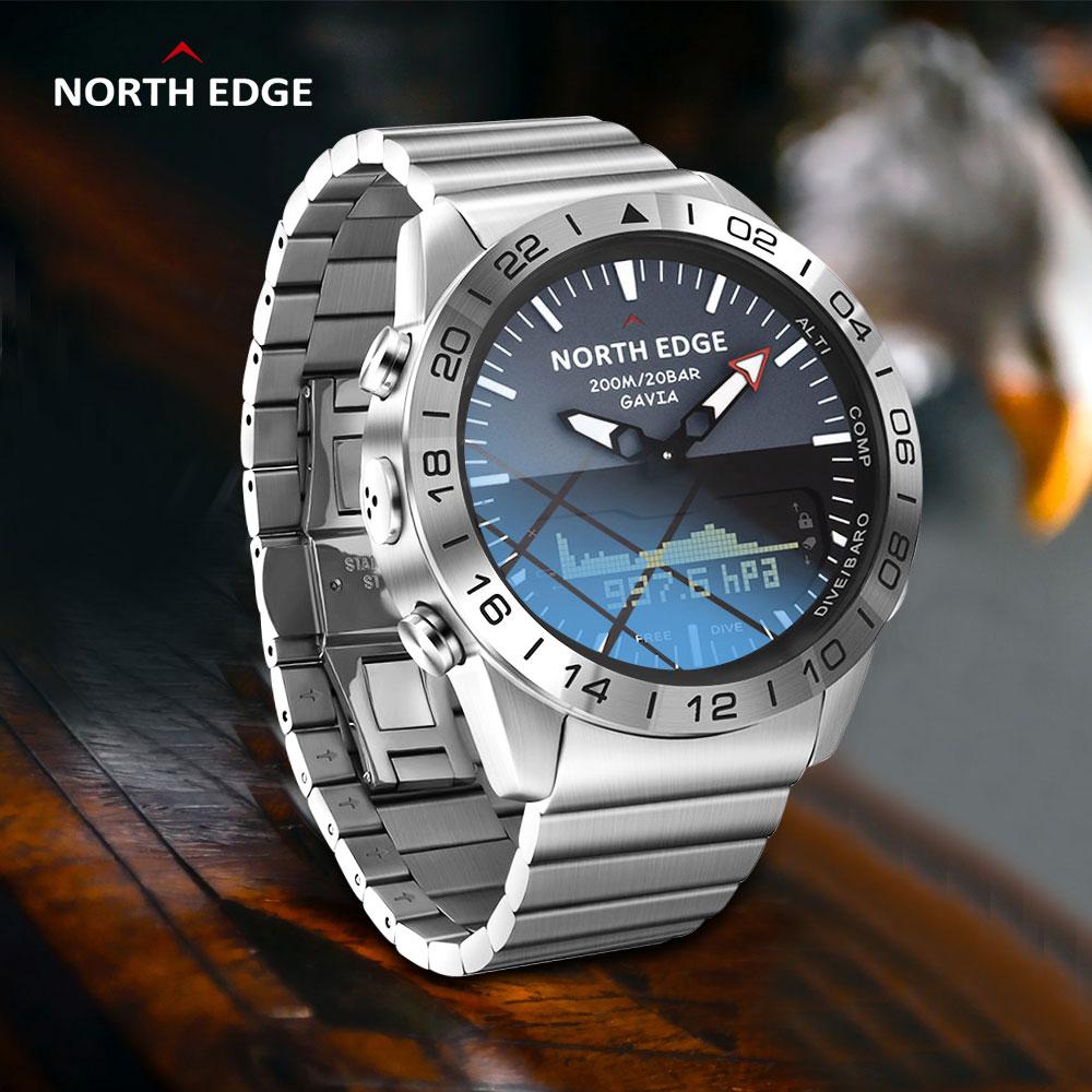 الأصلي نورث إدج غافيا 2 الأعمال ساعة ذكية فاخرة كامل الصلب مقياس الارتفاع البوصلة الرياضة الرقمية مقاوم للماء smartwatch Apache
