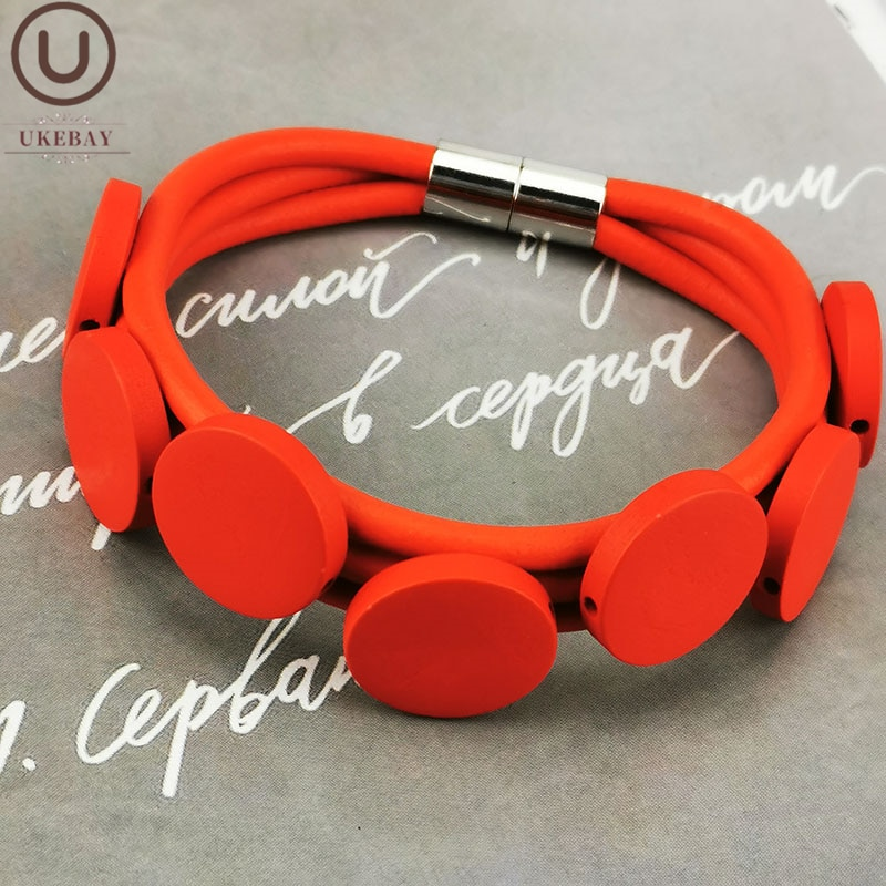 Ukebay nova pulseira de madeira vermelha charme pulseira feminina handamade pulseira de jóias de borracha pulseira moda goth acessórios jóias