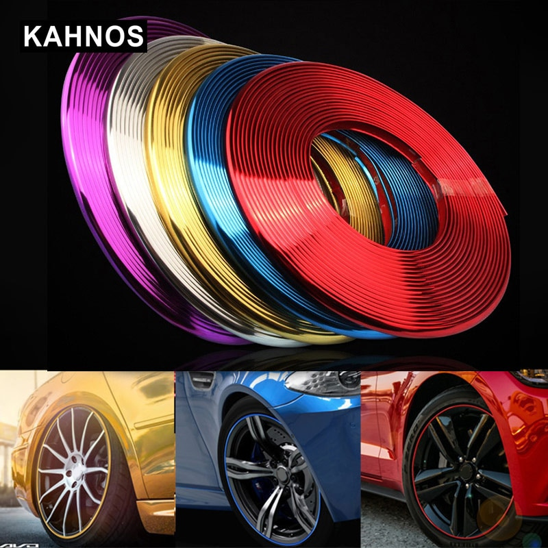 Llanta de rueda de coche protectores tiras 8 metros coche neumático Rim Stirps cinco colores decoración coche accesorios exteriores
