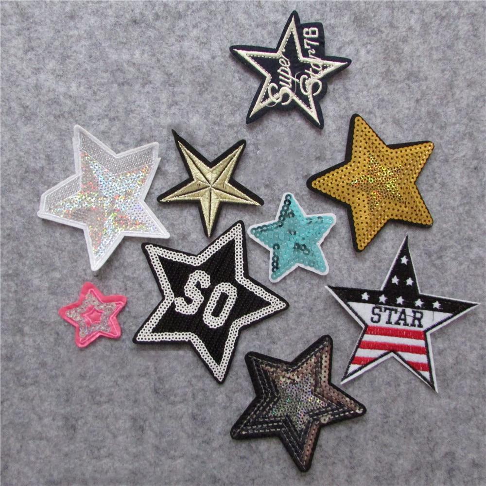 Adhésif thermofusible étoile cinq points   style différent, mode, appliques broderies, patchs à rayures, accessoires à créer à soi-même, nouvelle collection