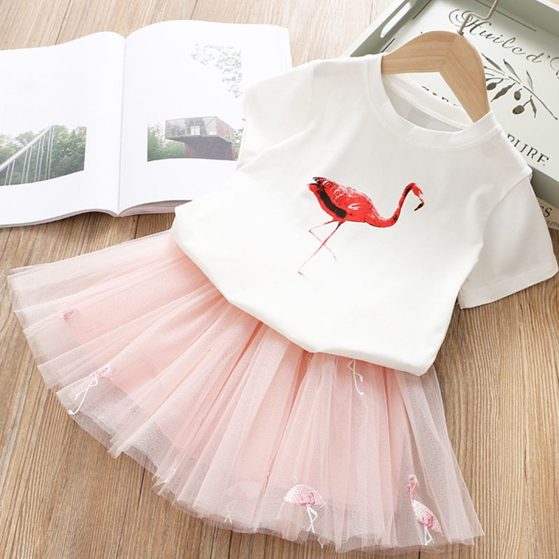 Vestido de marca para niñas, vestidos infantiles para niñas, dibujos de flamencos, bonito conjunto de conejo, camiseta de manga corta + velo, vestido de 2 uds, vestido de Pascua para niñas