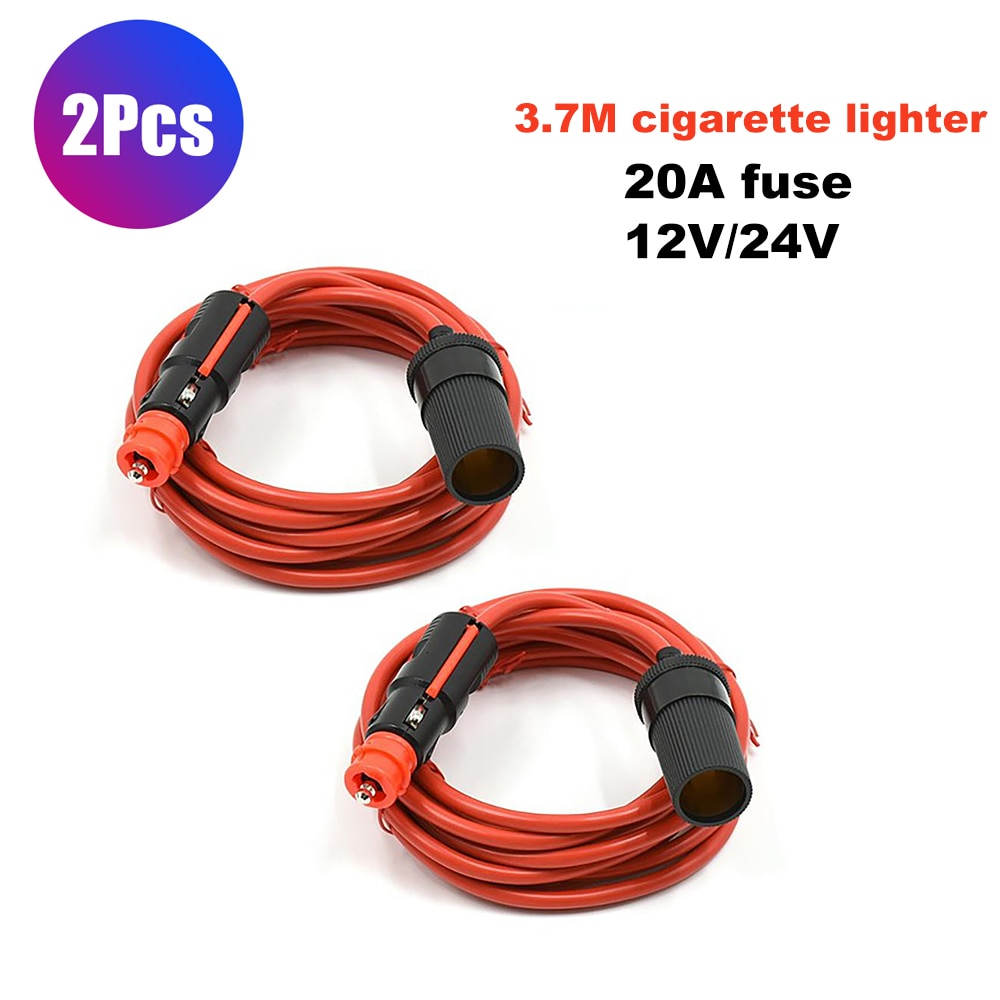 2Pcs Universal Car Cigarette Lighter Socket Extension Cord On & Off Button Type  Extender Cable  Power Adapter 3.7 M
