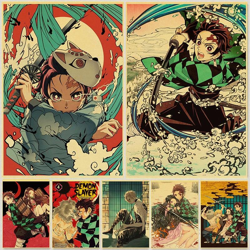Demon Slayer: Kimetsu no Yaiba Tanjirou Nezuko Anime Poster Kraft Paper Vintage Posters Home Room Ar