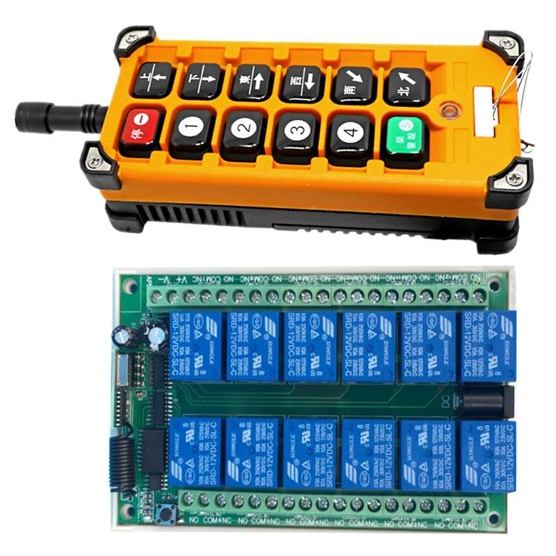 AC220V قناة 12CH راديو تحكم جهاز ريموت كنترول لا سلكي يعمل بالتردد الراديوي العلوي نظام رافعة السفر استقبال + الارسال