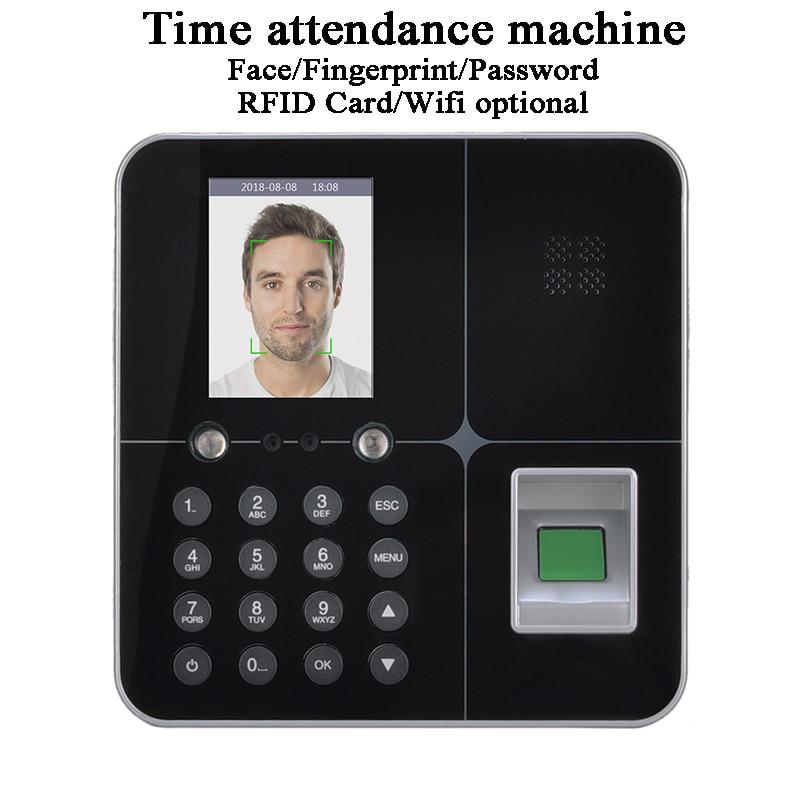 Office Face time attendance machine Standalone DC5V U-disk USB TCP/IP Wifi Battery LCD Screen biometric fingerprint code card